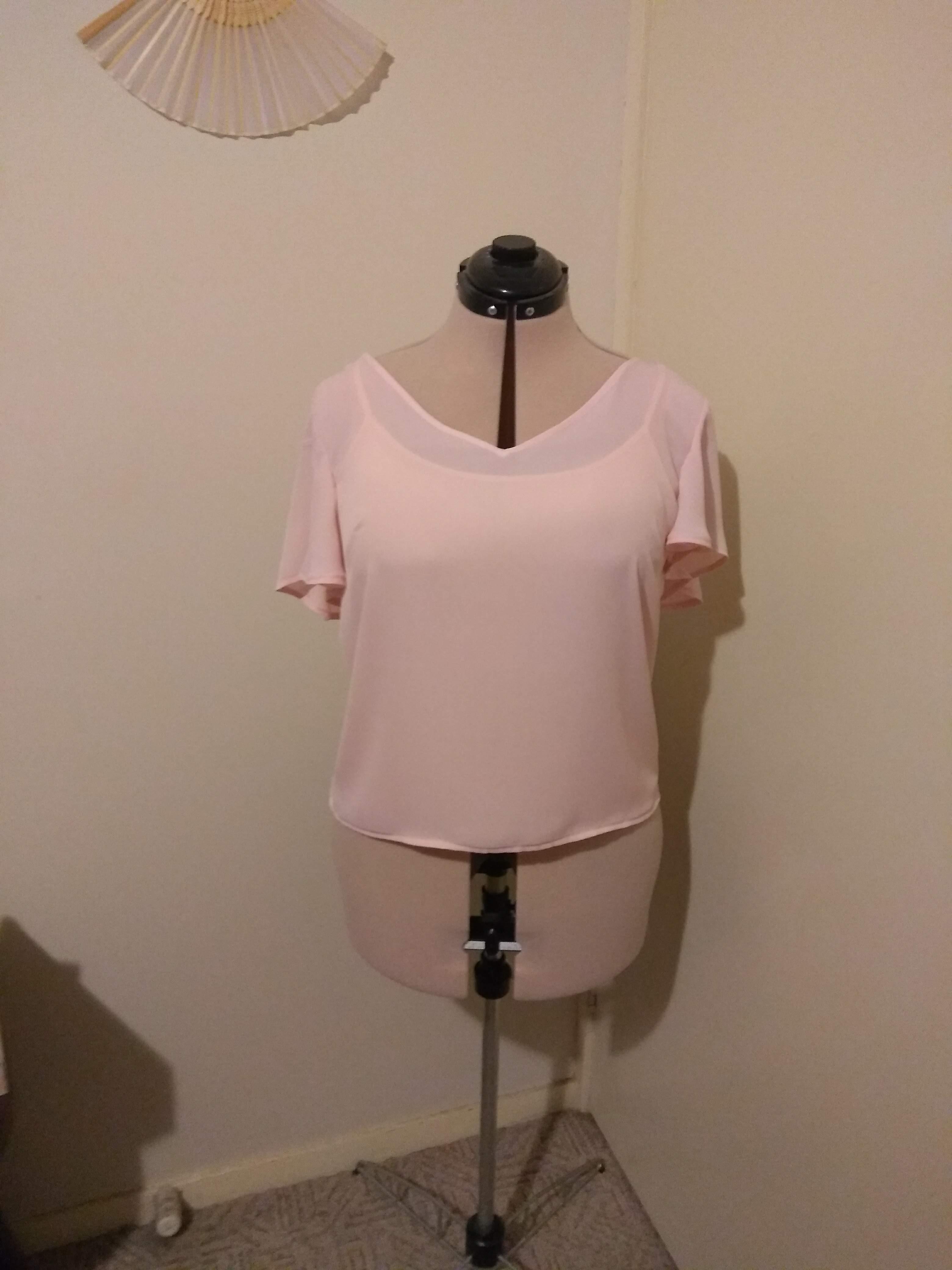 Simple Sew Tania Top in Pink Georgette